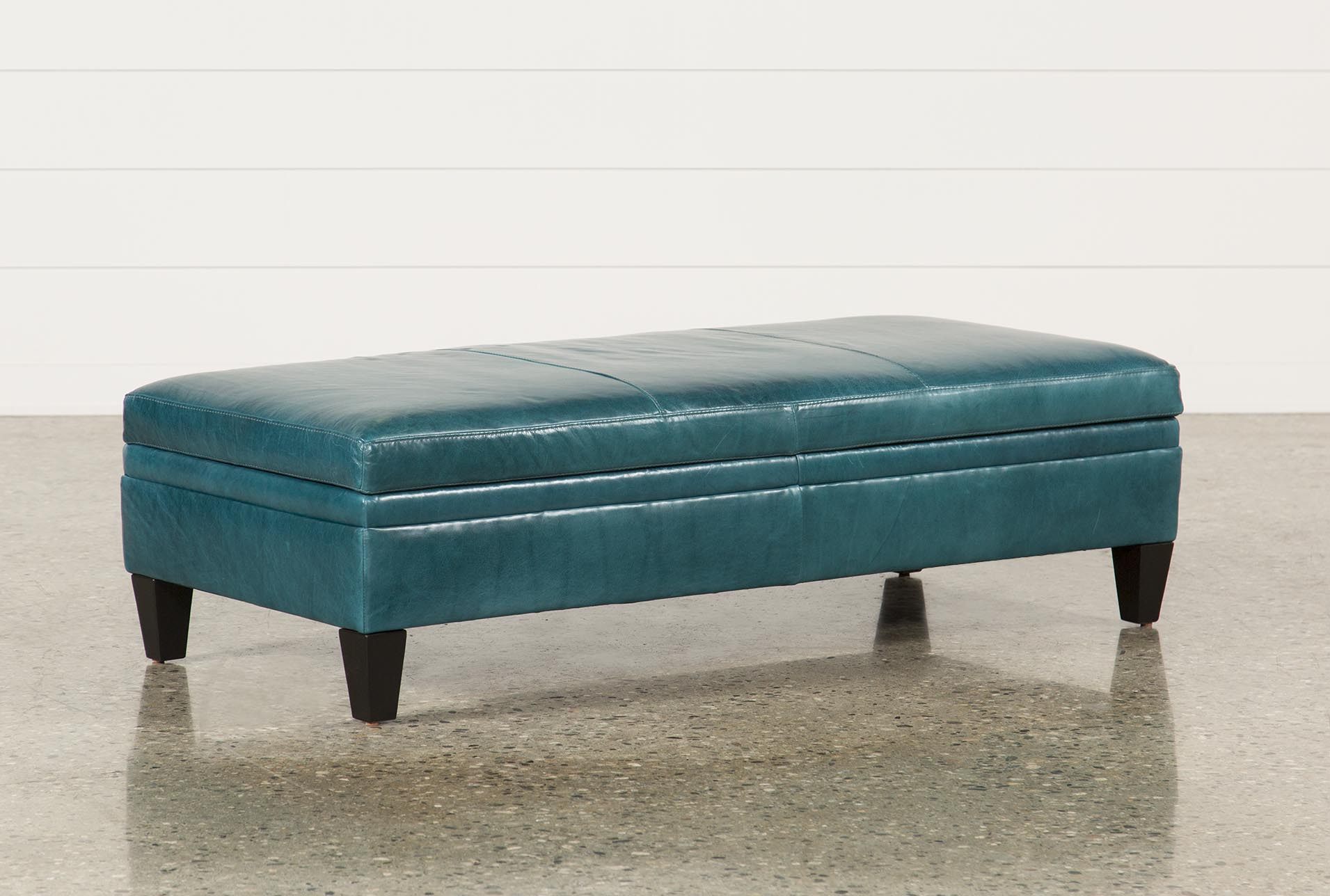Adler Leather Large Rectangle Storage Ottoman - 360 : aqua storage ottoman  - Aquiesqueretaro.Com