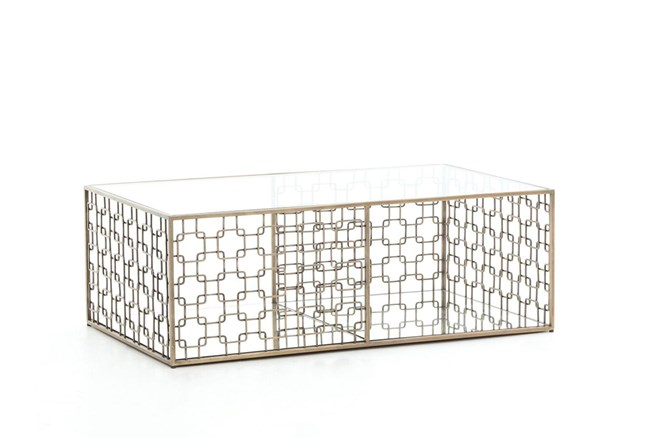 Stainless Steel & Glass Coffee Table - 360