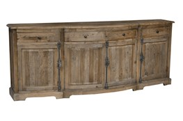 Distressed Natural 4-Door/4-Drawer Sideboard