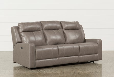 Sequoia Sable Leather Dual Power Reclining Sofa W/Adjustable Headrest