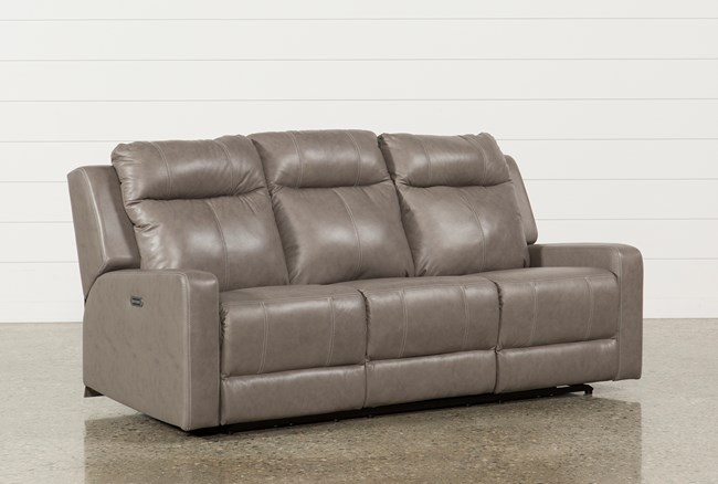 Sequoia Sable Leather Dual Power Reclining Sofa W/Adjustable Headrest - 360