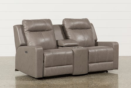 Sequoia Sable Leather Dual Power Reclining Loveseat W/Console & Adj Headrest