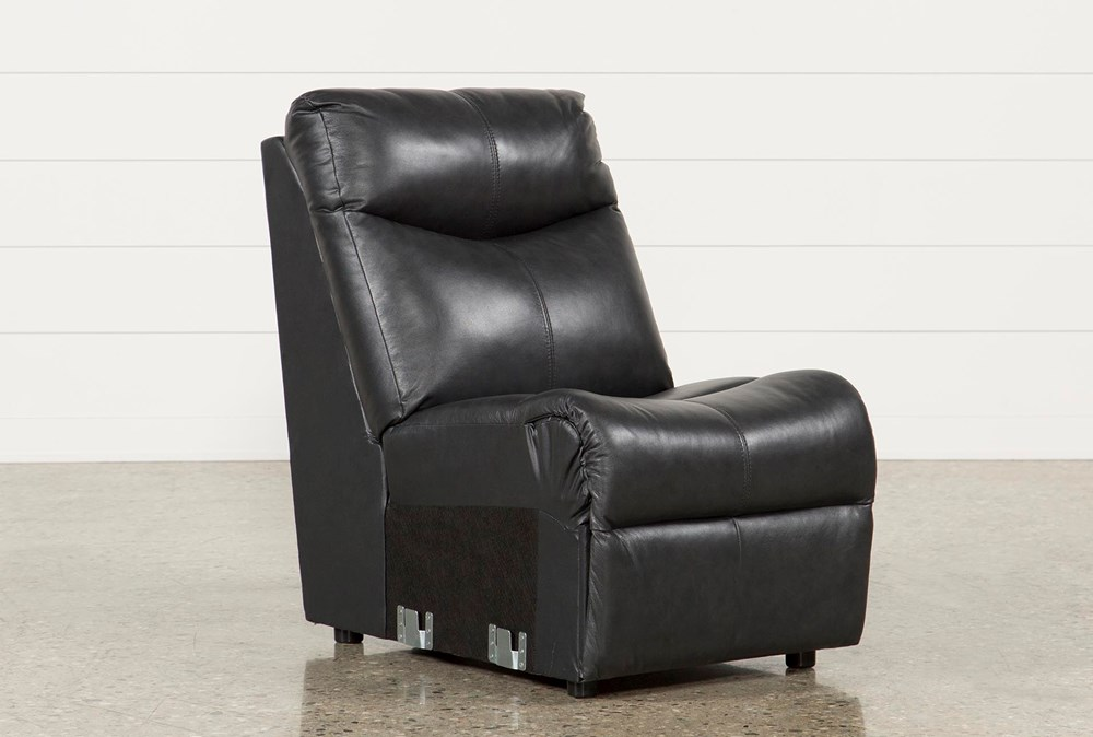 Della Anthracite Leather Armless Chair