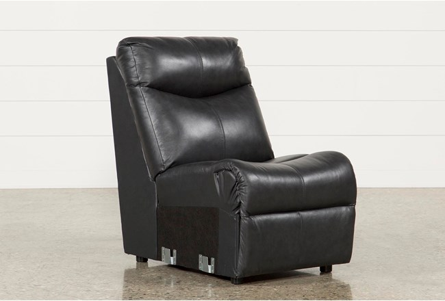 Della Anthracite Leather Armless Chair 360