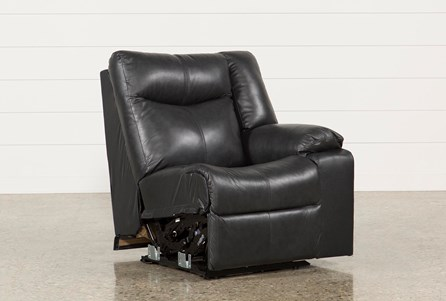 Della Anthracite Leather Right Facing Power Recliner W/Adjustable Headrest