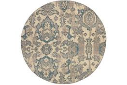 92 Inch Round Rug-Vincent Aqua Ikat