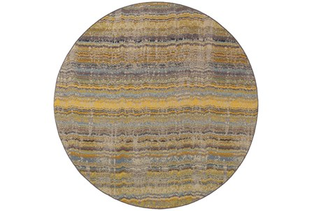 92 Inch Round Rug-Ravi Stripes Blue