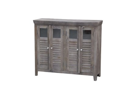 Sand Blast Walnut 4-Door Wine Cabinet