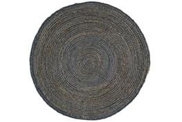96 Inch Round Rug-Denim Jute