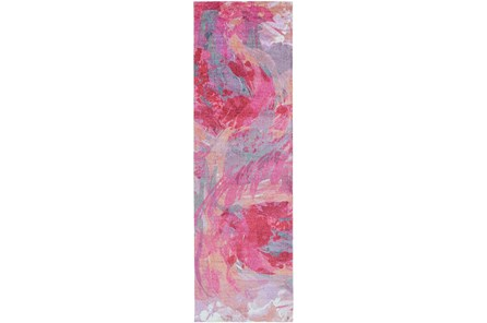 30X96 Rug-Pink Brushstrokes