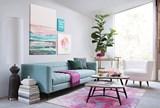 60X90 Rug-Pink Brushstrokes - Room