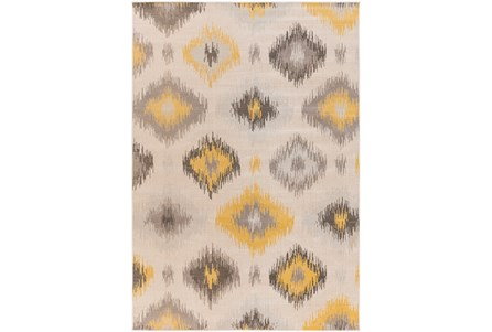 95X132 Rug-Yellow/Grey Ikat