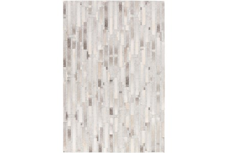96X120 Rug-Grey Modern Stripes Hide