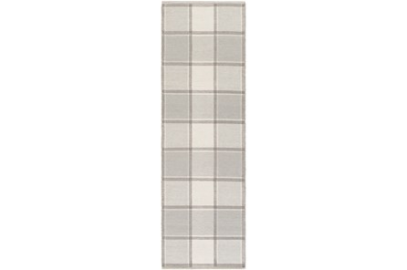 30X96 Rug-Grey Plaid Flatweave