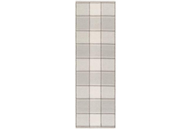 30X96 Rug-Grey Plaid Flatweave - 360