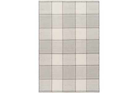 48X72 Rug-Grey Plaid Flatweave