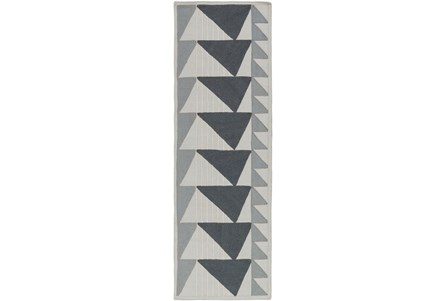 30X96 Rug-Charcoal Triangle Flatweave