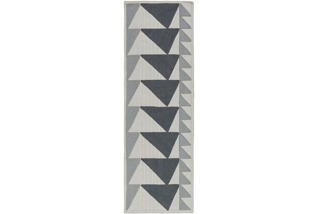 30X96 Rug-Charcoal Triangle Flatweave - 360