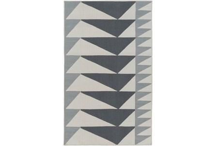 48X72 Rug-Charcoal Triangle Flatweave
