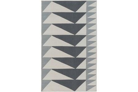 48X72 Rug-Charcoal Triangle Flatweave - Main
