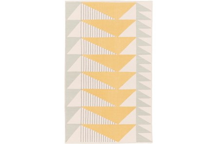 48X72 Rug-Yellow Triangle Flatweave - Main