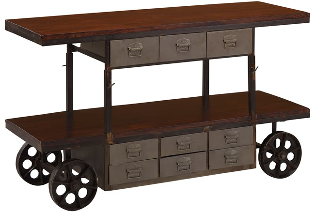 Walnut Finish Adjustable Wheeled Cart - 360