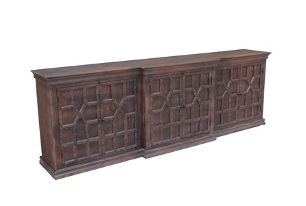 Antique Walnut Finish 6-Door Sideboard