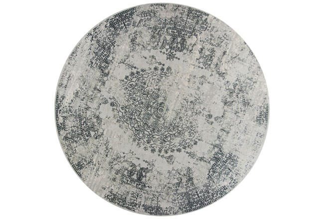 91 Inch Round Rug-Antique Grey - 360