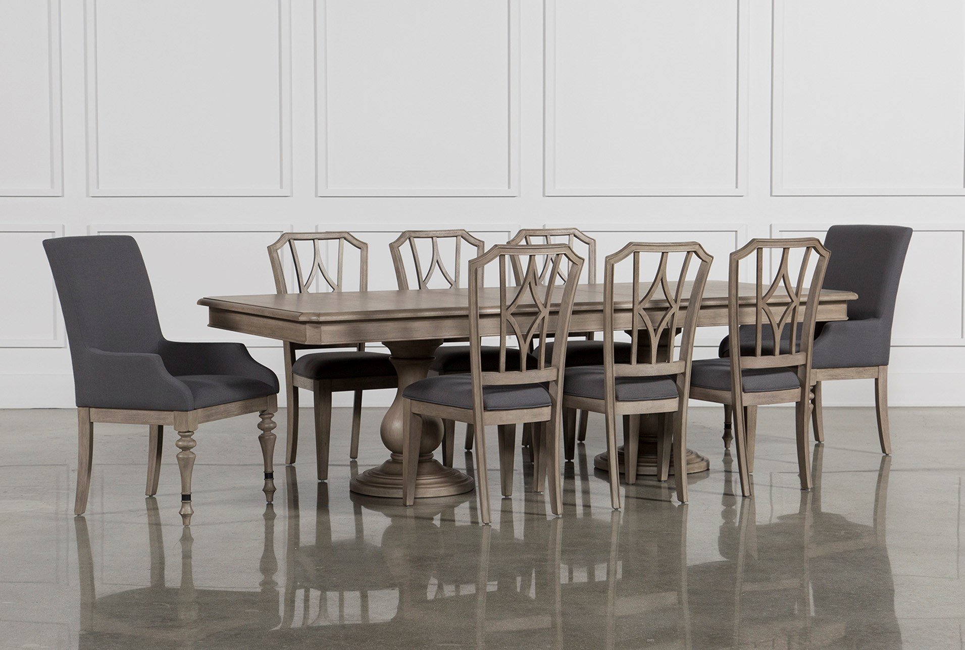 gray dining table. Caira 9 Piece Extension Dining Set W/Diamond Back Chairs Gray Table