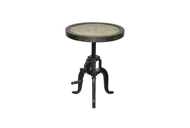 White Wash Adjustable Lamp Table - 360