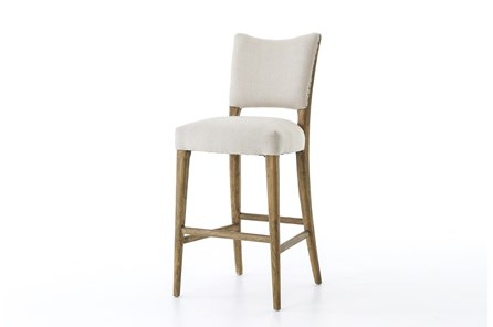 Oak & Dark Linen Barstool - Main