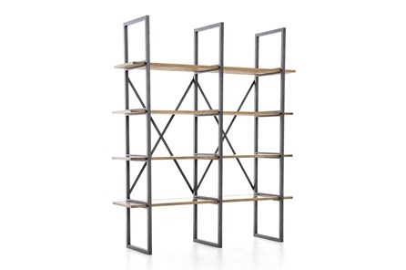 Oak & Iron Double Bookshelf