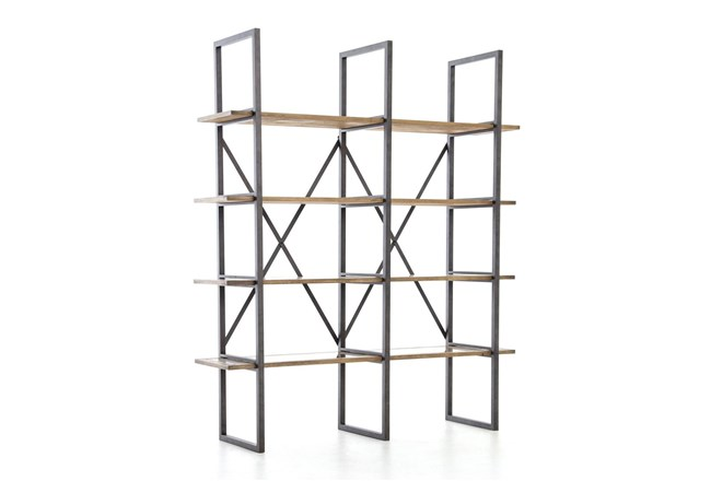 Oak & Iron Double Bookshelf - 360
