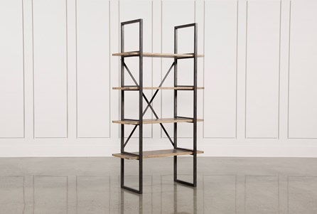 Oak & Iron Single Bookshelf