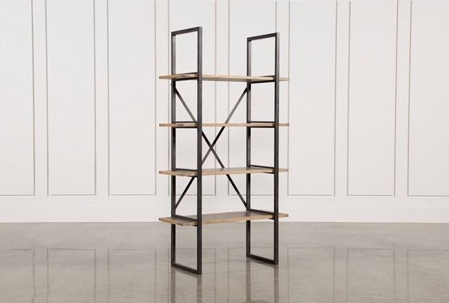 Oak & Iron Single Bookshelf - 360