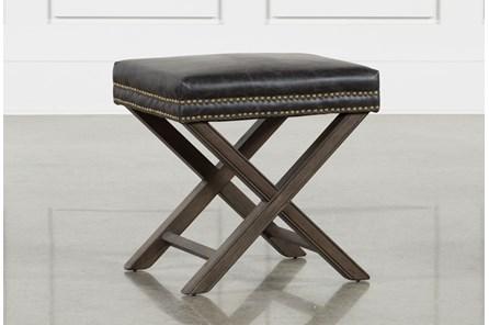 Poplar & Leather 20X16 Ottoman - Main