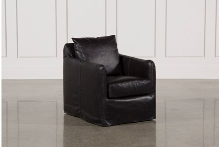 Leather Black Swivel Chair - Main