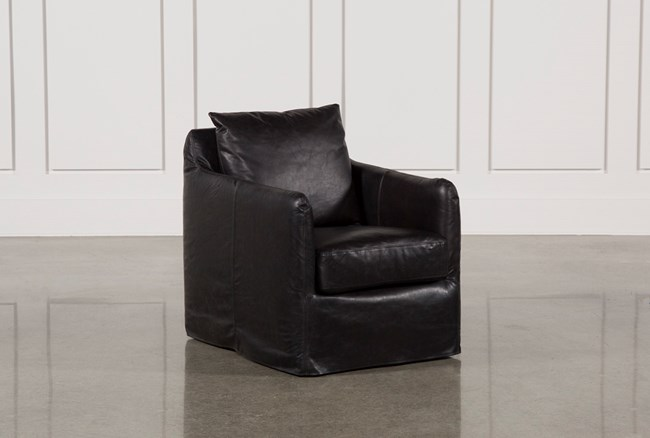 Leather Black Swivel Chair - 360