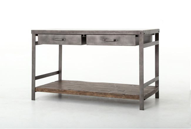 Mango Wood & Iron Kitchen Island - 360