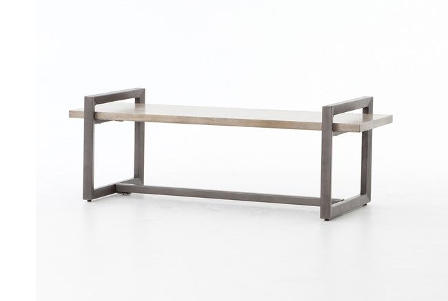 Acacia Wood & Iron Bench - 360
