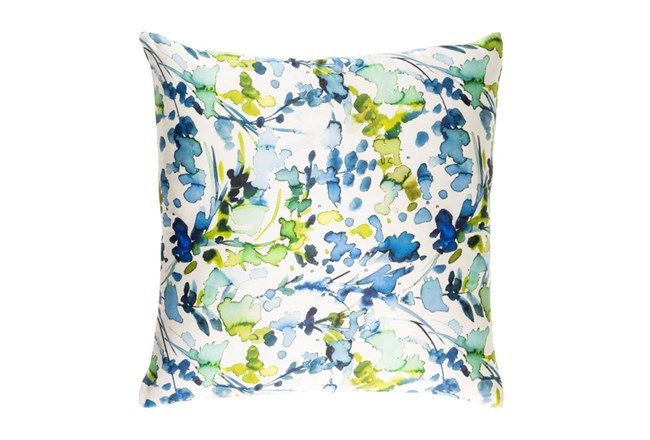 Accent Pillow-Watercolor Leaves Blue 18X18 - 360