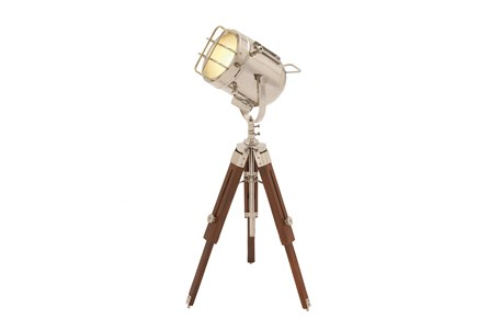 Table Lamp-Nickel And Wood Spotlight