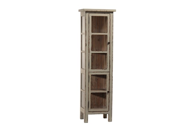 Grey Paint Distressed Vitrine - 360