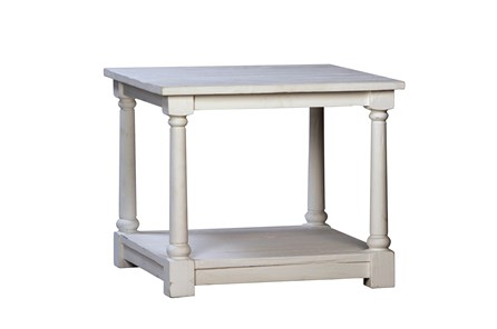 White Paint Finish End Table - Main