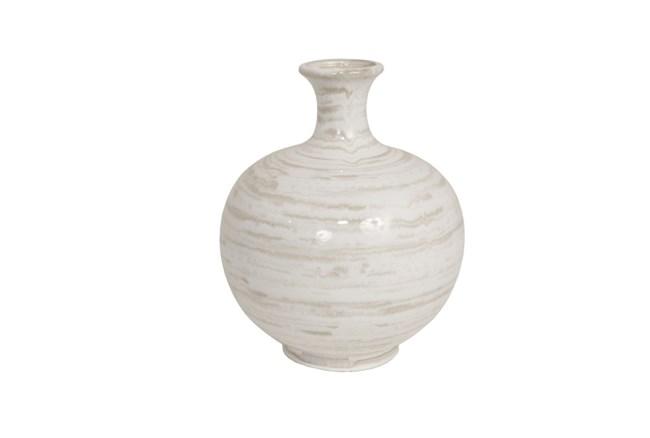 13 Inch Tan/White Ceramic Vase - 360
