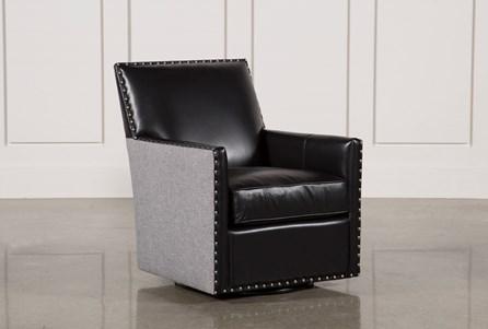 Cortina Black W/Nailheads Swivel Chair