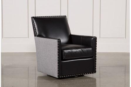 Cortina Black W/Nailheads Swivel Chair - Main