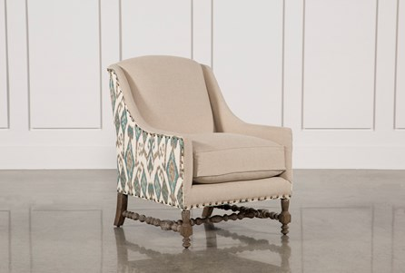 Teal Linen W/Nailheads Accent Chair