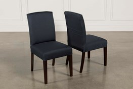 Garten Navy Chairs W/Espresso Finish Set Of 2