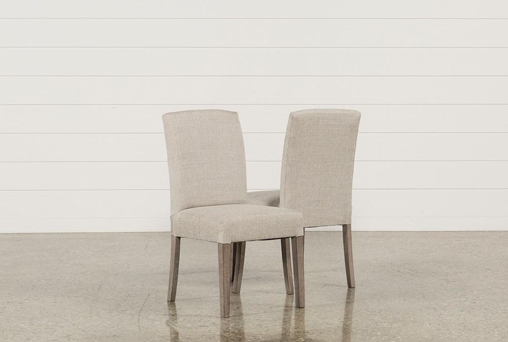 Garten Linen Dining Side Chairs W/Greywash Finish Set Of 2